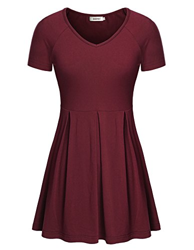 Bepei-Women-Short-Sleeve-Fit-And-Flare-Pleated-Fitted-Empire-Waist-Peplum-Tops