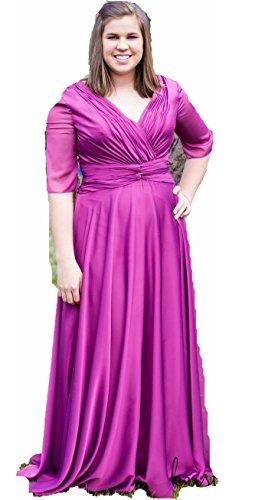 Chiffon V-Neck Ruched Long Gown (Bonny Bridal Dresses)