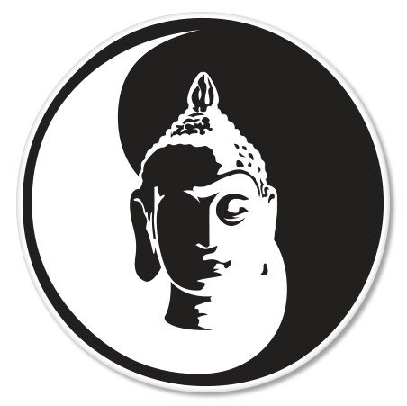 Buddha Peace Black White Yin Yang Vinyl Sticker - Car Phone Helmet - SELECT SIZE (Buddha Sticker)