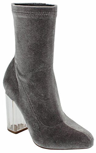 Women Donna Fashion Almond Toe Faux Velvet Zipper Lucite Block Clear Perspex Heel Ankle Bootie Grey