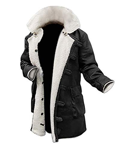 Blingsoul Men's Shearling Coat Black Leather Swedish Bomber Jacket | [1600214] Bain PU Black (L)