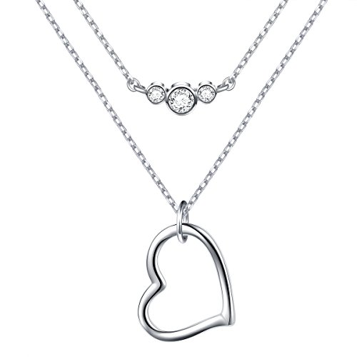 S925 Sterling Silver Heart Double Chain Layered Choker Y Lariat Necklace for Women