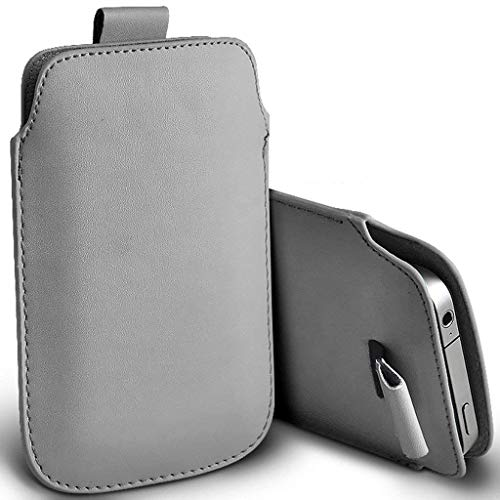 (I-Sonite (Grey) Premium Slip in Pull Tab Sleeve Faux Leather Pouch Case Cover for HTC Desire 526 [ XL ])