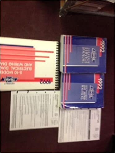 1992 Chevy Chevrolet Truck S10 S 10 Service Shop Repair Workshop Manual Set Oem Chevrolet Amazon Com Books