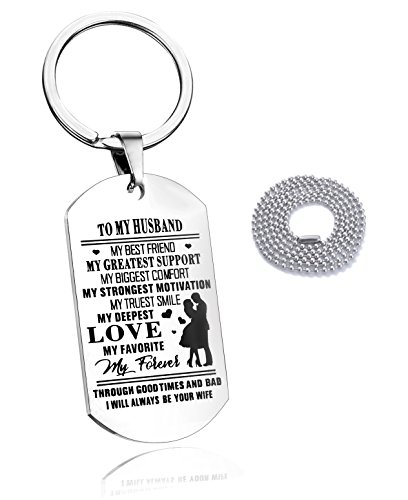 To my Husband Key Chain Dog Tag Necklace for Men,Car Key Ring my Best friend my Greatest Support