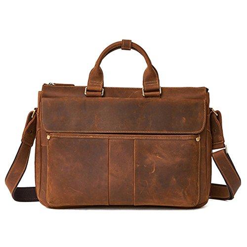Causal Fashion Famous Cowocc Genuine Briefcase Laptop Bags Male Men's Brown Handbag Shoulder New Leather Brown Brand Bag Messenger Bag 5YqOY