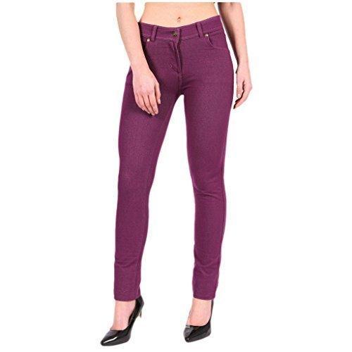 FASHIONCHIC Formal 26 Liso Cremallera Pantalones Colores disponible Elástico 8 morado 18 Con Curvy Ajustado Pitillo De Tamaño Jeggings color Plus Mujer ABrFqYA