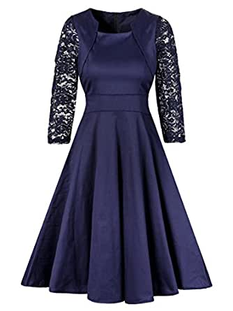 Horcute Women's Square Neck 2/3 Lace Sleeve Cocktail Vintage Dress Navy S
