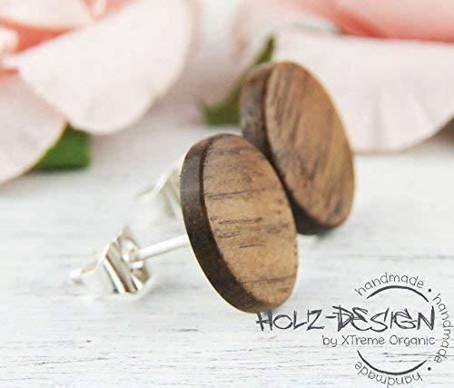 Holz Ohrstecker /Ø11mm Wood earrings D/ünne Fake Plugs Ohrringe h/ölzerne Nussbaum Ohrringe kleine runde Holzohrstecker individualisierbar Illusion Rustikaler Schmuck Brautschmuck aus Holz