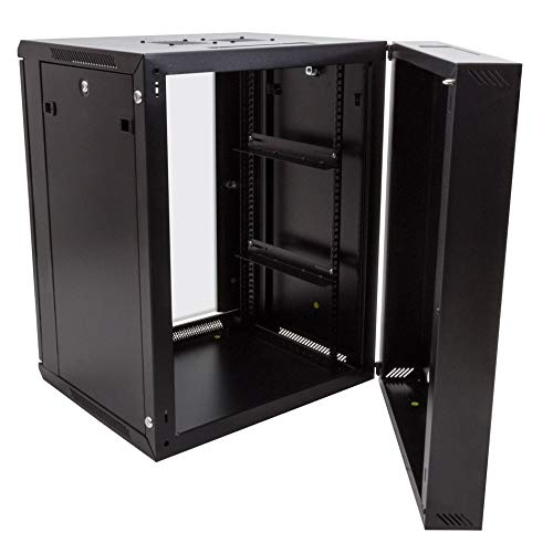 RackSolutions Swingout Hinged 15U Wall Mount Rack Cabinet With Locking Glass Door