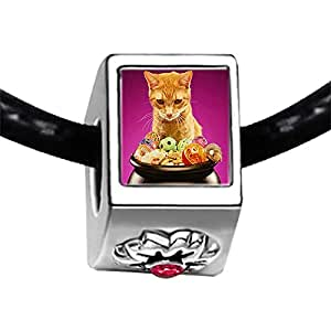 Chicforest Silver Plated cute cat Halloween food Photo Red Zircon Crystal July Birthstone Flower Charm Beads Fits Pandora Bracelet