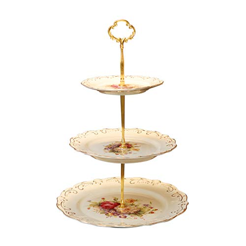 YOLIFE Flowering Shrubs Pattern 3 Tiered Cupcake Stand,Emboss Golden Leaves Edge Tea Party Pastry Tower,6-8-10 inch