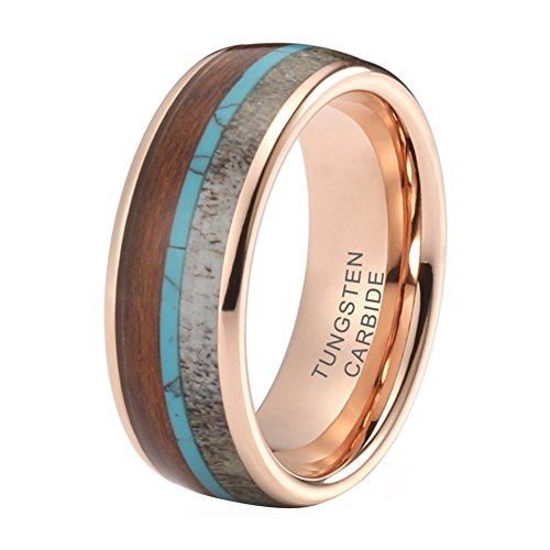 iTungsten Tungsten Ring Mens Womens Rose Gold Wedding Bands 8mm Turquoise Koa Wood Deer Antler Inlay Comfort Fit - Mens Small Turquoise Inlay Ring