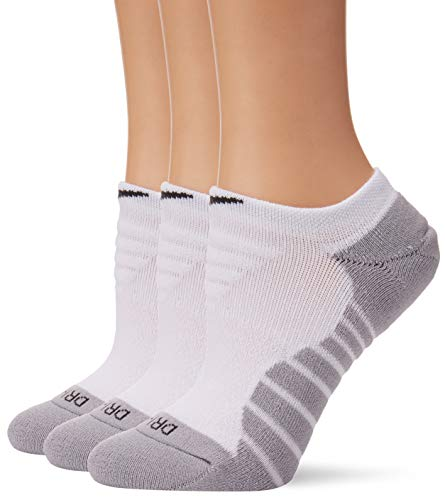 Nike Dry Cushion No-Show Training Socks (3 Pair) (Medium, White) (Nike Socks Dri Fit No Show)