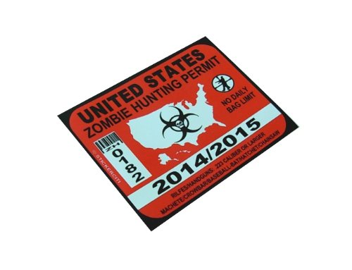 - BERRYZILLA United States Zombie Hunting Permit Decal Funny License Bumper Sticker