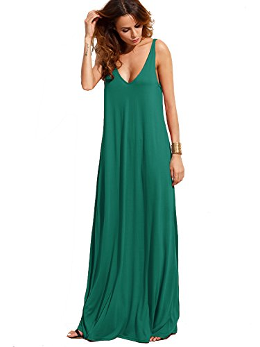 (Verdusa Women's Casual Sleeveless Deep V Neck Knitted Shift Sexy Maxi Long Dress Green M)