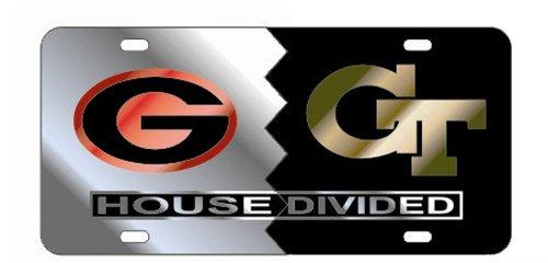 (GEORGIA Bulldogs - GEORGIA TECH Yellow Jackets Mirrored House Divided License Plate Tag)