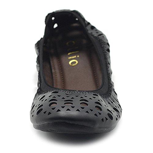 Ollio Flats Black Women's Comfort Elasticated Out Shoe Ballet Cut TTxr8H0