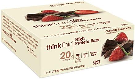Hohe Protein Riegel, Schokolade Erdbeere, 10 Bars, 2,1 Unzen (60 g), die jeweils - ThinkThin