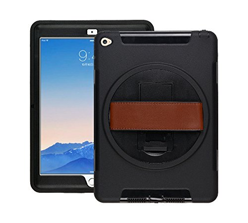 Raz Tech Rugged Shockproof Case for Apple iPad Air 2 iPad 6 - Heavy Duty iPad Case with 360 Degree Swivel Stand and Hand Strap - Black by Raz Tech