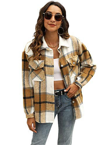 Uaneo Womens Casual Plaid Wool Blend Button Down Long Sleeve Shirt Jacket Shackets (Khaki, L)