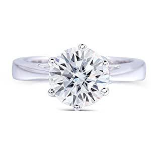 Platinum Plated Sterling Silver,2ct H-I Color Moissanite Engagement Brilliant Ring by TransGems for Women (Platinum-plated-silver, 5.5)