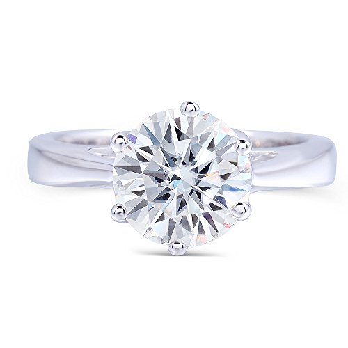 2ct 8MM HI Round Moissanite Simulated Diamond Engagement Ring in Sterling Silver for Women By Transgems (platinum-plated-silver, 8.5)