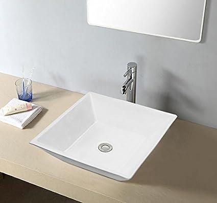 Enbol O1616 Square Porcelain Ceramic Above Counter Bathroom Vessel Vanity  Sink White Countertop Art Basin