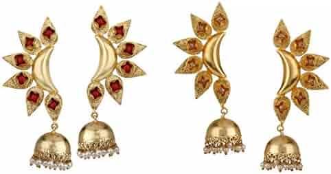 fd2ed5643 Efulgenz Indian Bollywood Jewelry 14K Gold Plated Crystal Pearl Floral Leaf  Dangle Drop Big Jhumka Earrings