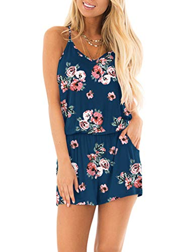 (REORIA Womens Casual Summer One Piece Sleeveless Spaghetti Strap Short Boho Playsuits Floral Printed Jumpsuits Beach Rompers Blue Small)