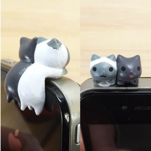ZOEAST 30%OFF Adorable Little Hanging Sweeet Twins White Black Cat Kitten Kitty Dust Plug 3.5mm Smart Cell Mobile Phone Plug Headphone Jack Earphone Cap Ear Cap Dustproof Plug Charm iPhone (Kitty Cell)