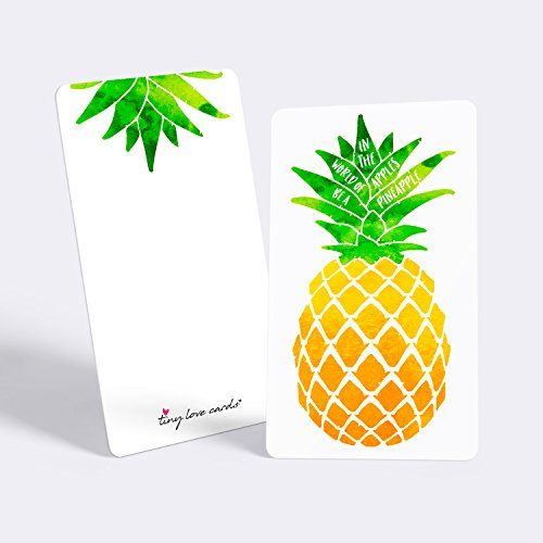 "Tiny Love Cards - Set of 85 Cute BLANK Mini Cards for Hand-Written notes - ANY Occasion - 2"" x 3.5"", Small Note Cards (Good Vibes: Pineapple)"