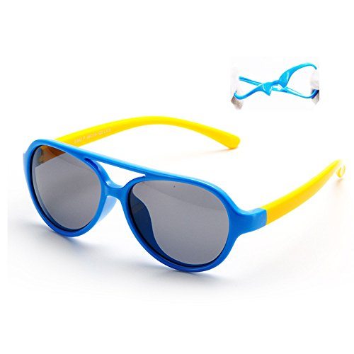 Vivic Tpee Silcon Flexible Kids Children Polarized Sunglasses  Blue  Yellow