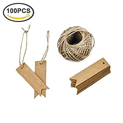 Giveet 100 PCS Kraft Paper Gift Tags with Free Cut String, Candy Box Favor Hang Tags, Christmas Favor Party Supply Blank Cards with 30M Jute Twine