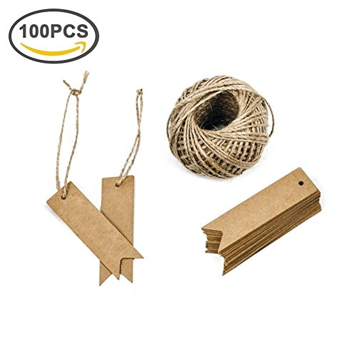 Giveet 100 Pieces Gift Tags with Free cut String, Brown Kraft Paper Hang Gift Wrap Tag for Wedding Favor, Party Gifts, Crafts, Christmas and Price Tags with 100 Feet Natural Jute Twine