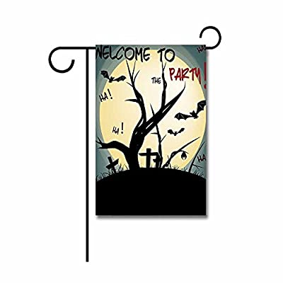 "Kafepross Full Moon Over the Cemetery Halloween Night Party Garden Flag 12.5""x18"""