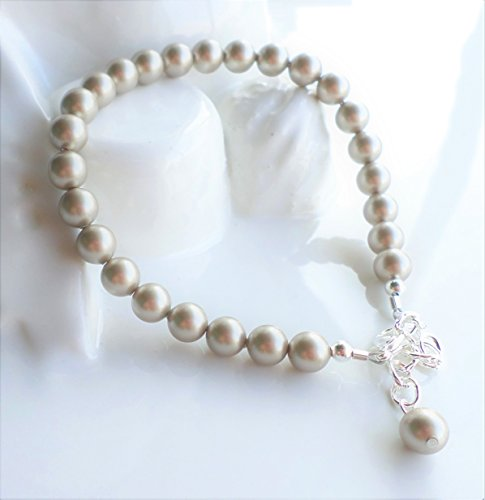 Platinum Swarovski Pearl Wedding Bridal Bracelet by H&H Jewelry Designs