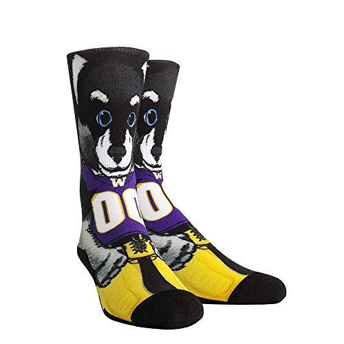 - NCAA Super Premium College Fan Socks (L/XL, Washington Huskies - Mascot Harry)