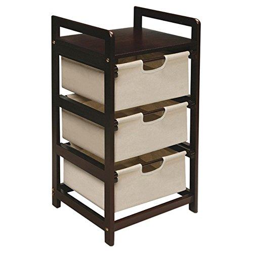 046605117002 - Badger Basket Three Drawer Hamper/Storage Unit, Espresso/Canvas carousel main 0