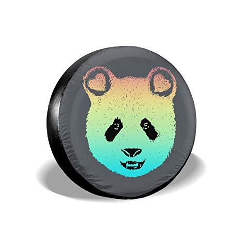 Ganwinsh Tire Cover Rainbow Panda Galaxy Spare Wheel Cover Universal Fit for Jeep,Trailer, RV, SUV and Many Vehicle 16 Inch