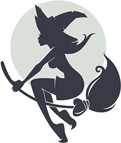 Cute Sexy Black Halloween Witch Silhouette Cartoon Vinyl Sticker (8
