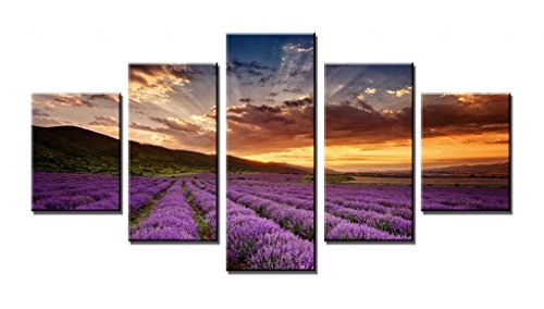 Wieco Art - Provence Lavender Large Modern Landscape 5 Panels Canvas Prints Fields Artwork on Stretched and Framed Canvas Wall Art Ready to Hang for Living Room Home Decorations