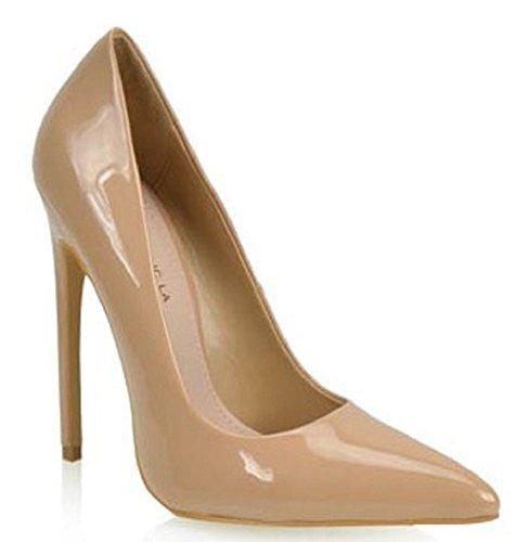 Stiletto Heel Slide (SR Gabriel Pointy Toe Shinny Faux Patent High Stiletto Heel Slip On Slide Pump Taupe)