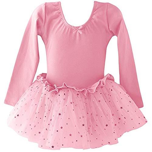 Dancina Leotard Sparkle Tutu Dress Long Sleeve Disney Princess Fairy Dress Up Leo Costume 8 Light Pink -