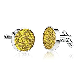 Alimab Jewelry Men's Cuff Links Engraved Clouds Flower Shirt Gold - Stainless Steel Men Cufflinks