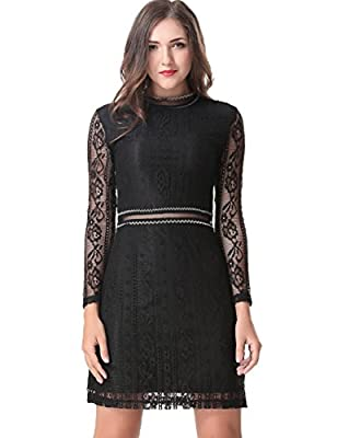 Aphratti Women's Slim Fit Long Sleeve Lace Cocktail Party Dress