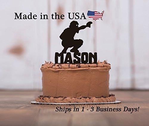 Baseball Catcher Cake Topper with FREE Keepsake Base, Baseball Player, Personalized Keepsake, Sports Birthday Party, Male Player, Birthday Party Decoration