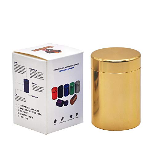 Stash Jar - Airtight Smell Proof Durable Multi-Use Portable Metal Herb Jar Container. Waterproof Aluminum Screw-top Lid Lock Odor -Gold