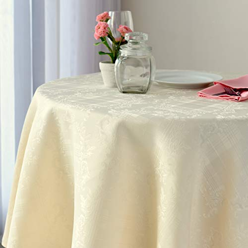Stain Resistant BEIGE Round Tablecloth Polyester Table Cover - Rectangular, Square, Round, Washes Easily Non Iron - Thanksgiving Christmas New Year Eve Dinner Wedding (BEIGE Damask, Round 60