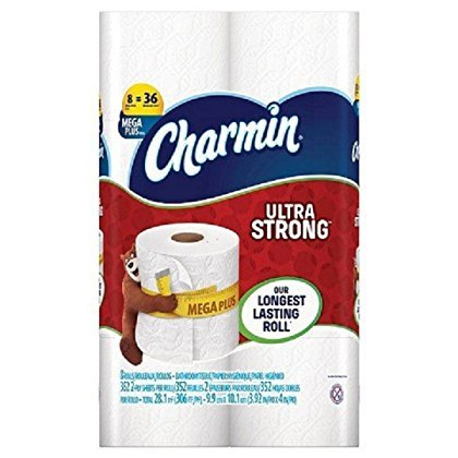 Charmin Ultra Strong Flushable Mega Toilet Paper, Our Longest Lasting Bathroom Tissue - 8 SUPER MEGA FAMILY ROLLS – 352, 2-Ply Sheets, Per Roll - 2,784 Sheets In Total